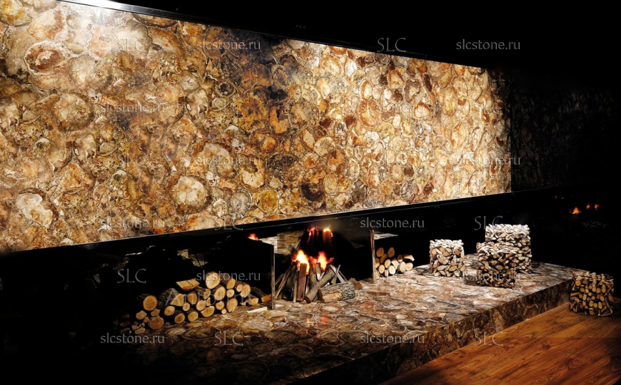 Декоративное панно из Petrified Wood