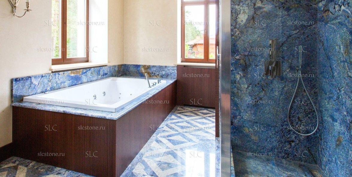 Синий гранит в интерьере ванной комнаты 2